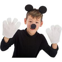 Maus-Set (Haarreif mit Ohren, Nase, Handschuhen), 3-tlg.