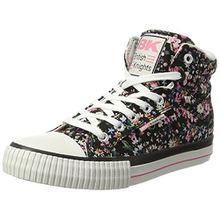 British Knights Damen Dee Sneaker, Schwarz (Black/Pink Flower), 40 EU