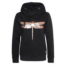 Rock Angel Damen Sweathoodie mit Libellenprint MIRA | Sportlich-Eleganter Kapuzenpullover black XL