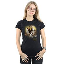 Star Wars Damen The Last Jedi Porgs Brushed T-Shirt Small Schwarz