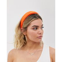 ASOS DESIGN - Gepolstertes Haarband aus orangem Satin - Orange