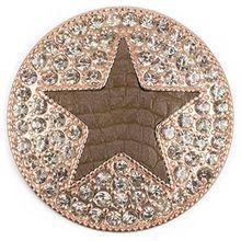 styleBREAKER runder Magnet Schmuck Anhänger für Schals, Tücher oder Ponchos, mit schwarzem Stern und Strass, Damen 05050030, Farbe:Rosegold / Oliv