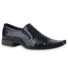 Stiefelparadies Klassische Komfortable Herren Business Slipper Schnallen Schuhe 115698 Dunkelblau Kroko 41 Flandell
