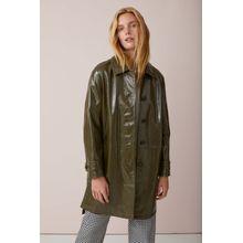 CLOSED Glossy Italian Leather Coat shadow green