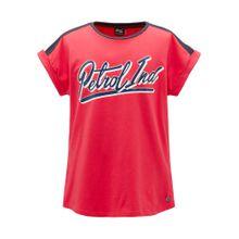 Petrol Industries T-Shirt dunkelblau / cranberry / weiß
