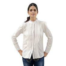 Amy Vermont Damen Bluse mit gerüschtem Stehkragen