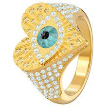 Swarovski Ring 'Lucky Goddess' aqua / goldgelb / silber