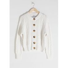 Cable Knit Cardigan - White