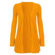 Funky Boutique Damen Cardigan mit Tasche : Farbe - Orange : Größe: 12-14 ml