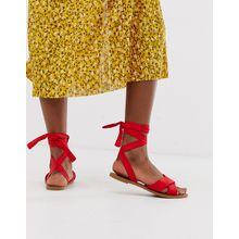 Park Lane - Flache Sandalen mit Schnürung am Bein - Rot