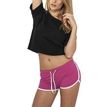 Urban Classics Damen Short Ladies French Terry Hotpants, Mehrfarbig (Fuc/Wht 104), 34 (Herstellergröße: XS)