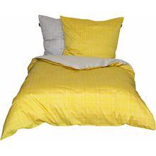 Schöner Wohnen Bettwäsche-Set, 100 Prozent CO, Gelb-Grau, 200 x 135 cm