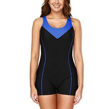 Charmo Damen Einteiler Sport Badeanzug mit Bein Hotpants Kontrast Rückenfrei Bademode Sport Swimsuit Schwarz M