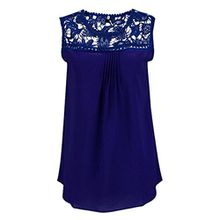 FEITONG Damen Beiläufige Sommer Lace Spliced Chiffon Weste Ärmellos Bluse Tank Tops (XL, Blau)
