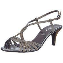 Vista 21-424M, Damen Knöchelriemchen Sandalen mit Keilabsatz, Silber (silber/multi), 37 EU