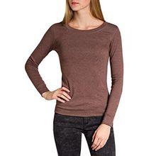 Caspar SRT024 figurfreundliches Damen Langarm Shirt, Farbe:Braun;Größe:S