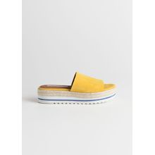 Suede Platform Slides - Yellow