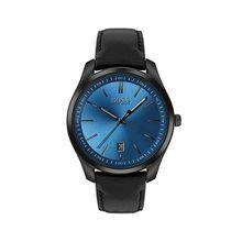 Uhr aus schwarz beschichtetem Edelstahl mit blauem Zifferblatt mit Sonnenschliff