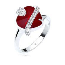 Elli Ring Herz Swarovski® Kristalle 925 Sterling Silber dunkelrot Damen