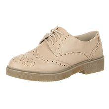 Ital-Design Damen Schuhe, B235-CS, Halbschuhe, Schnürer Freizeitschuhe, Synthetik in Hochwertiger Lederoptik, Hellbraun, Gr 37