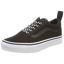 Vans Unisex-Kinder Old Skool Elastic Lace Sneaker, Schwarz (Check Lace), 37 EU