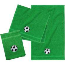 myToys Frottierset, 2 Handtücher & 1 Waschlappen, Fußball, grün