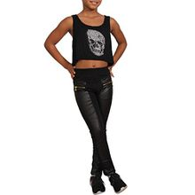 Kinder Thermo Leder Look Optik Treggings Leggins Hose Jeans Leggings Jeggings Y (104, Schwarz)