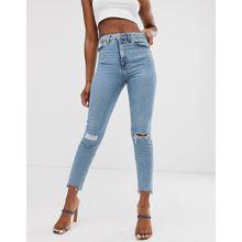 ASOS DESIGN - Farleigh - Schmal geschnittene Mom-Jeans mit hohem Bund und heller Vintage-Waschung mit Rissen & Fransensaum - Blau