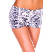 Moon Angle Damen Sexy Sequins Elastische Shorts Hosen Tanz Clubwear Paillette Shorts (Silber)