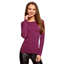oodji Collection Damen Langarmshirt, Violett, DE 32/EU 34/XXS