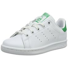 adidas Unisex-Kinder Stan Smith Basketballschuhe, Weiß (Ftwwht/Ftwwht/Green), 28 EU
