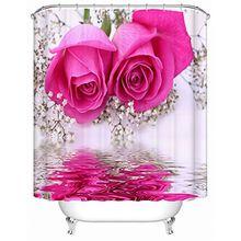 Alicemall 3D Badvorhang Vorhänge Wasserdicht Anti Schimmel Bad Vorhang Shower Curtain Schöne Rosa Rose Blumen Spiegelung im Wasser 3D Effekt mit 12 PCS Haken Duschvorhang 180x200cm ( Rose )
