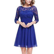 Minetom Damen 3/4 Ärmel Minikleider Spitzenkleid Freizeitkleid Elegant Rundhals Knielang Hochzeit Abendkleid Partykleid Blau DE 36