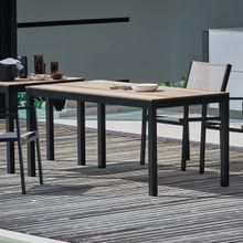 Quadrat HPL Tisch Gestell schwarz Holzoptik180x90