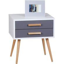 """Nachttisch """"Obel"""" mit 2 Schubladen 50x40 cm weiß/grau"""