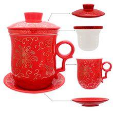HOLLIHI Porzellan Teetasse mit Deckel und Untertasse-Ei Sets - Chinesischer Jingdezhen Keramik Kaffee Tasse Teetasse Loose Leaf Tea Brewing System für Home Office