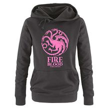 Comedy Shirts - Game of Thrones - FIRE AND BLOOD - Damen Hoodie - Schwarz / Rosa Gr. XL