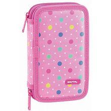 Federmäppchen Dots Pink, 28-tlg. pink
