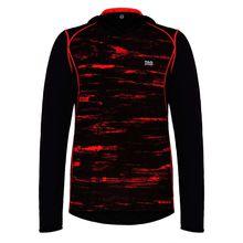 TAO Sportswear Herren Funktionsoberteil langarm mit Kapuze HOODIE Funktionsshirts schwarz/rot Herren