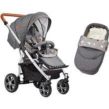 Kombi Kinderwagen F4 Air+ inkl. C2 Kompakt-Tragetasche, Gestell elox/cognac,grau iertmeliert / Flamingo grau-kombi