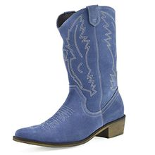 Kick Footwear Damen Western Leder Cowboy Stiefel Spitz Zehen Damen Breite Kalb Stiefel - UK 6/EU 39, Blue Suede