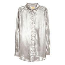 H & M - Bluse mit Metallicschimmer - Silber - Damen
