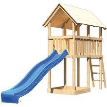 Spielturm Danny mit Satteldach & Rutsche, blau