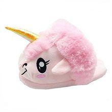 Unicorn Einhorn Plüsch Hausschuhe Pantoffeln Schuhe für Kinder / Erwachsene (Pink)
