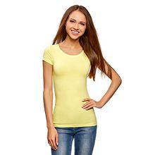 oodji Ultra Damen Tailliertes T-Shirt Basic (3er-Pack), Gelb, DE 38/EU 40/M
