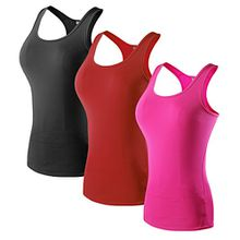 Sport Yoga TankTops Damen Workout 3 Packs Dry Fit Kompression Running Fitness T-Shirt Schwarz Rot Rose Tag(L)=EUR M