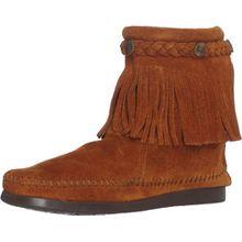 Minnetonka Hi Top Back Zip Boot, Damen Kurzschaft Mokassin Boots, Braun (Brown), EU 41 (US 10)