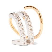 Bess Blanc Twirl Ohrring aus 18 Karat Gold mit Diamanten und rhodinierten Details
