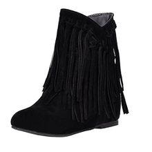 AIYOUMEI Damen Flach Fransenstiefel Ankle Boots Bequem Slip On Stiefeletten Schuhe
