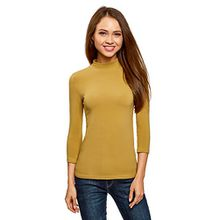 oodji Ultra Damen Tagless Baumwoll-Langarmshirt mit Stehkragen und 3/4-Arm, Gelb, DE 42/EU 44/XL